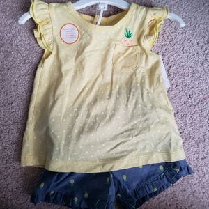 Carters 2 piece Pineapple Outfit 12 months NWT